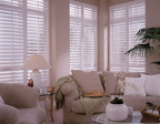 living room wall polywood shutters